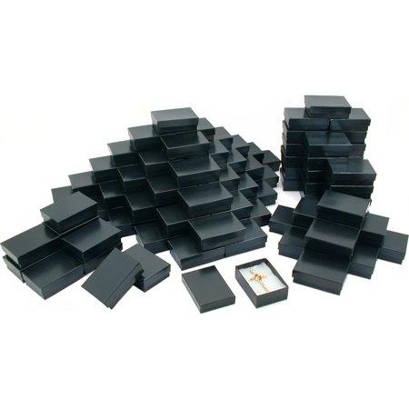 100 Black Stripe Cotton Filled Jewelry Gift Box 3 1/4