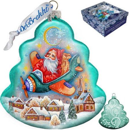 G Debrekht Holiday Christmas Aviator Glass Ornament