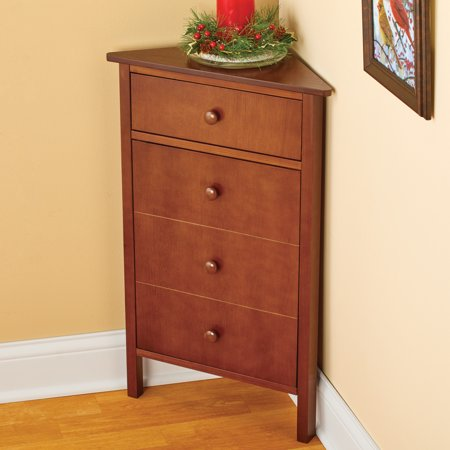Corner Wooden Cabinet with Storage and Magnetic Closure Perfect for An