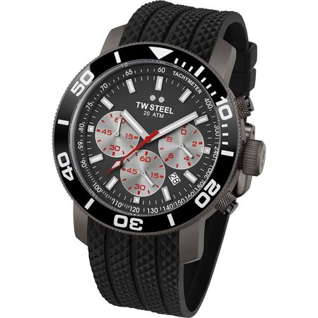 Tw Steel Mens 48Mm Black Silicone Band Steel Case Quartz Grey Dial Chronograph Watch Tw705