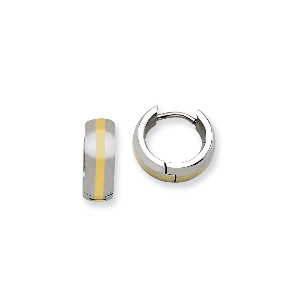 Stainless Steel Polished w/ 14k Inlay 0.3IN Hinged Hoop Earrings (0.3IN x 38.9IN )