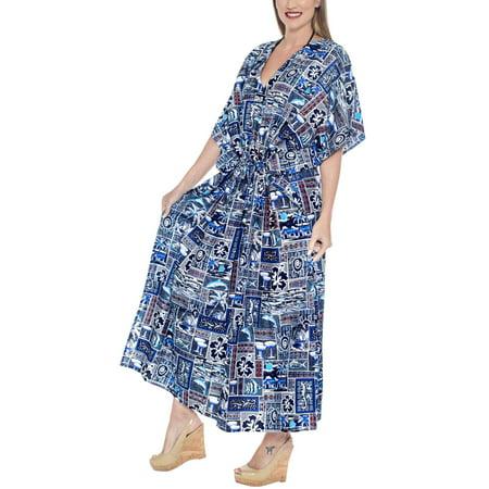 HAPPY BAY - Ladies Hawaiian Plus Size Dress Evening Kaftan For ...