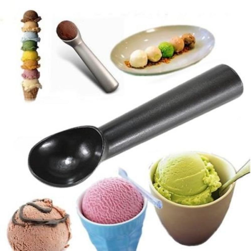 Aluminum Non-stick Ice Cream Silver Scoop Spoon Anti-freeze Dipper Kitchen Tool by