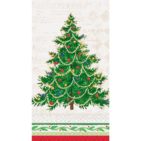 Classic Christmas Tree Paper Guest Napkins, 7.75 x 4.5 in, - Plaid Paper Napkins