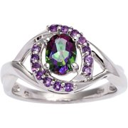 Sterling Silver Mystic Topaz and Amethyst Ring Size 8