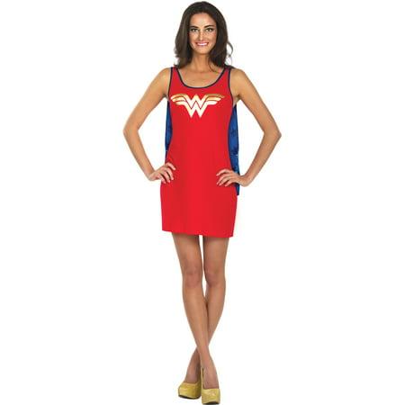 Womens  Wonder Woman Tank Dress With Cape - Wonder Woman Costume Dress