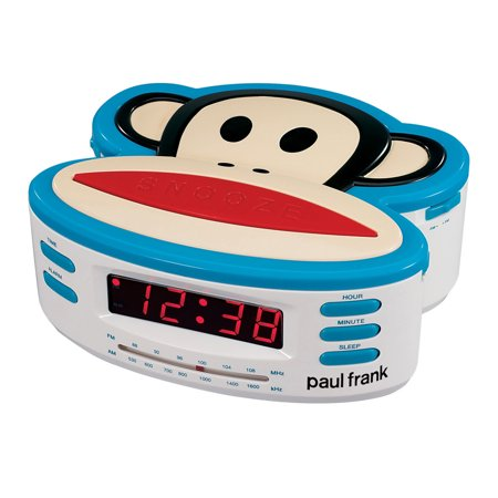 Paul Frank Single Alarm, AM/FM Clock Radio with Battery Back-Up