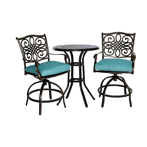 Hanover Outdoor Traditions 3-Piece Swivel High-Dining Set, Ocean Blue