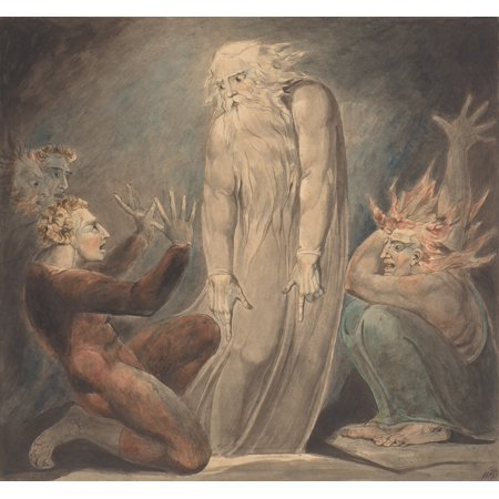 The Ghost Of Samuel Appearing To Saul By William Blake 1800 British Painting Drawing Pen And Ink With Watercolor Over Graphite Scene From The Old Testament Book Of Samuel Poster