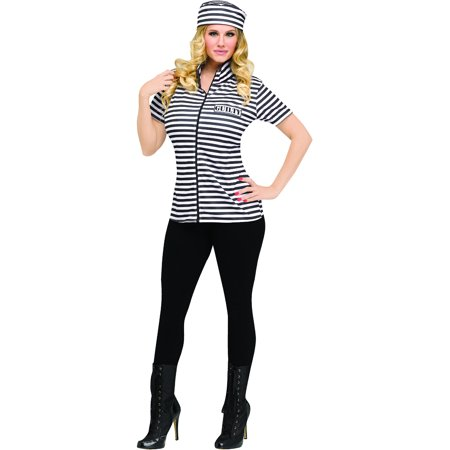 Adult's Womens Prisoner Shirt And Hat Costume