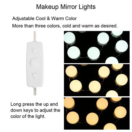 Qiilu Light String, Mirror Lights,10 Bulbs Vanity LED Makeup Mirror Lights Dimmable Bulb Adjustable Warm Cold Tones Light String - image 7 of 8