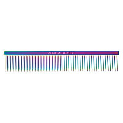 Rainbow Color Greyhound Combs for Dog Grooming Tools 3 Size Sets Available Too (Rainbow Medium/Coarse) ()