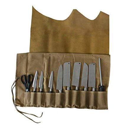 QEES Genuine Leather Knife Roll/Knife Bag Utensil Holder, 10 Pockets Handmade Waxed Canvas All Purpose Chef's Tool Roll DD01 - image 1 de 1