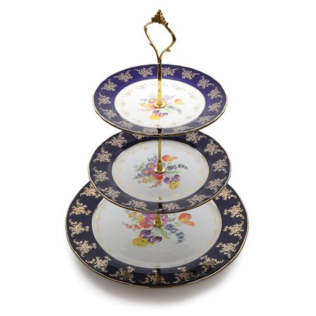 Royalty Porcelain 3-Tier Cake and Cupcake Stand, Cobalt Blue Pattern, 24K Gold
