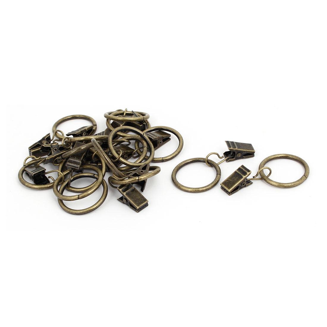 25mm Inner Dia Curtain Drapery Hanging Rings Clips Bronze