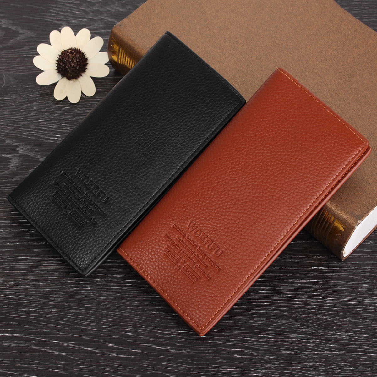 Business Mens Long Casual Black Wallet Pockets Card Holder Clutch Bifold Purse,Coffee color