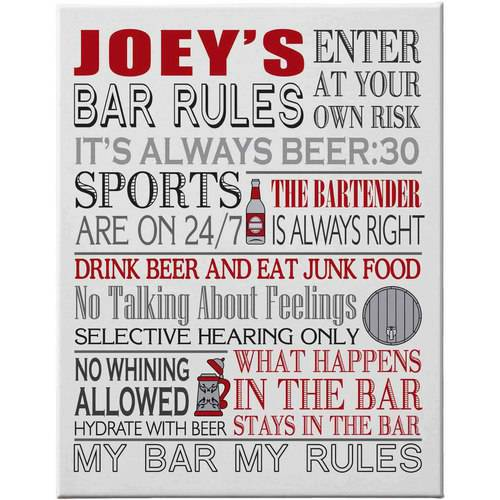 "Personalized Bar Rules Canvas, 18"" x 24"""