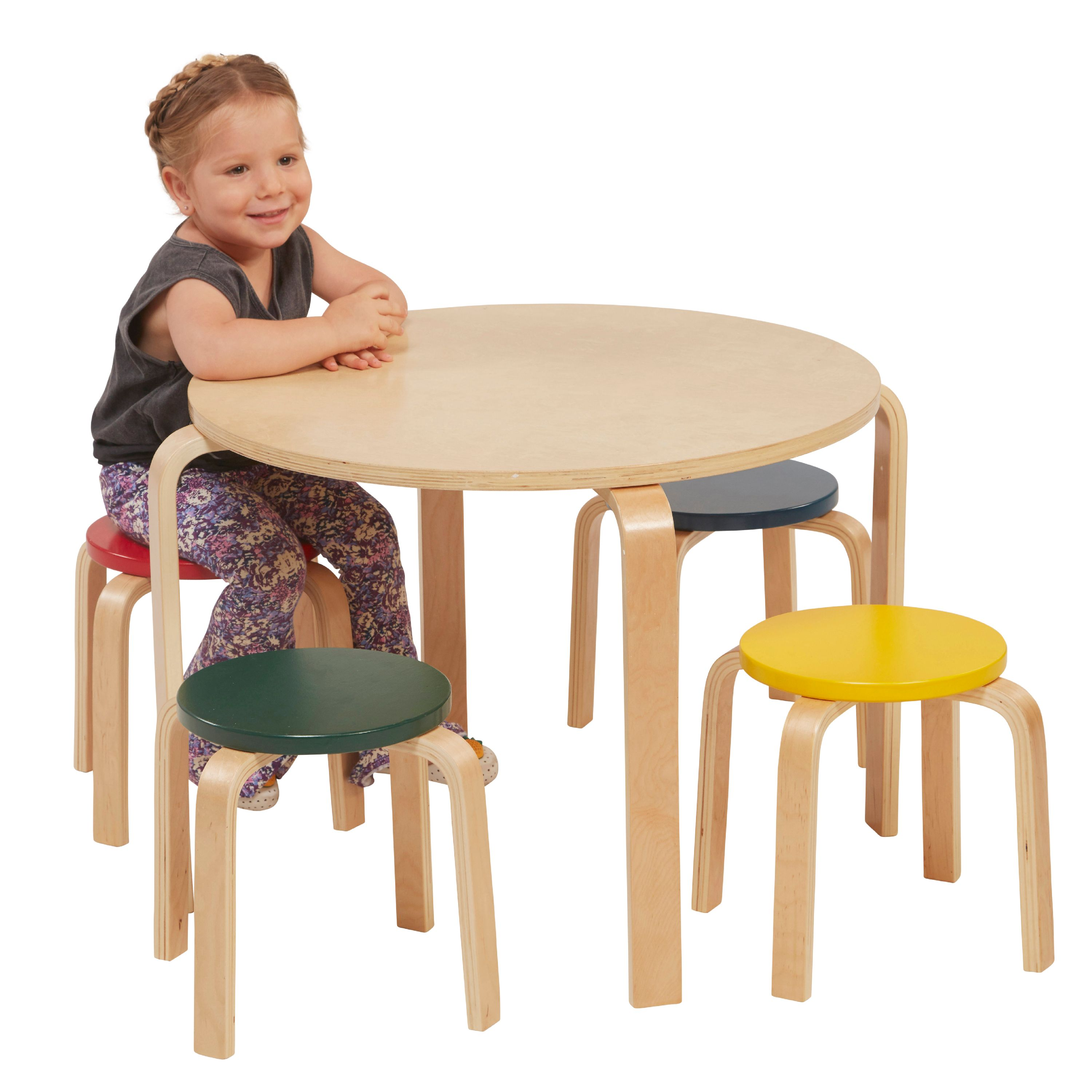 ECR4Kids Bentwood Table and Stools Set, Assorted Colors