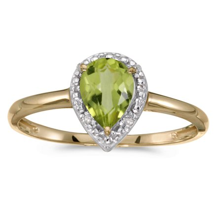 10k Yellow Gold Pear Peridot And Diamond Ring (Pear Shaped Peridot Ring)