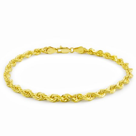 14k Yellow Gold 4mm Hollow Rope Chain Bracelet Men or Womens, 8