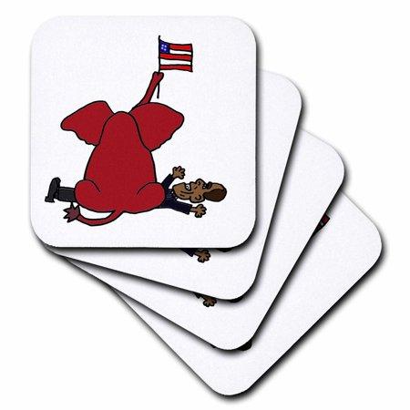 3dRose Funny Red Elephant Sitting on Obama Cartoon, Soft Coasters, set of - Anti Obama Halloween Cartoons