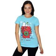 Juniors Peanuts Snoopy Snow Christmas T-Shirt by Hybrid