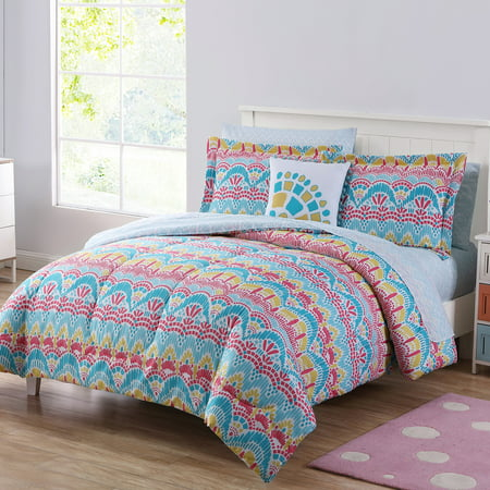 Mainstays BoHo Life 8 Pc Queen Comforter BIAB - Teal/Pink ()