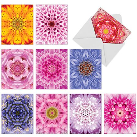 'M6056 BLOOMOSCOPIC' 10 Assorted Thank You Note Cards With Kaleidoscopic Floral Images with Envelopes by The Best Card Company