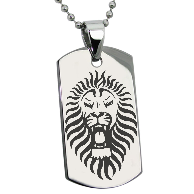 Stainless Steel Pharaoh Lion King Engraved Dog Tag Pendant