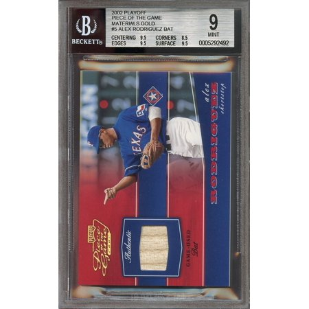 2002 Playoff Piece Of The Game Materials Gold  5 Alex Rodriguez Bat Bgs 9