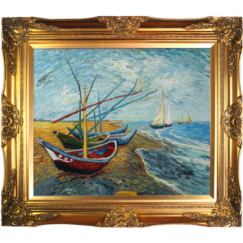 Tori Home Fishing Boats on the Beach at SaintesMaries by Van Gogh Framed Hand Painted Oil on Canvas
