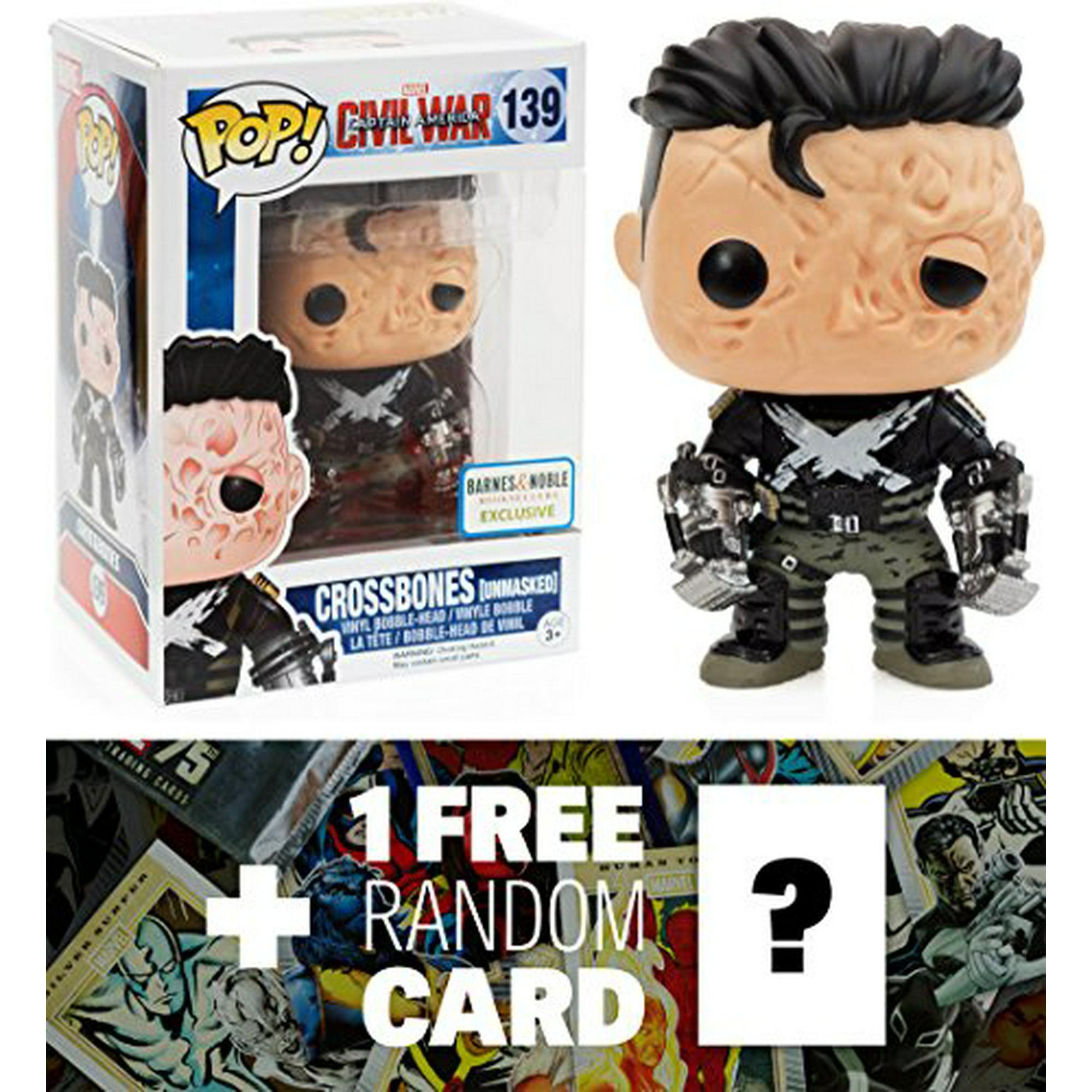 Crossbones (B&N Exclusive): Funko POP! x Captain America Civil War  Bobble-Head Figure + 1 FREE Official Marvel Trading Card Bundle [77976]