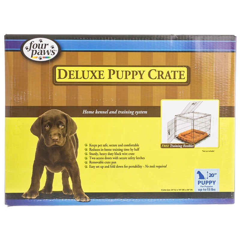 """Four Paws Collapsible Puppy Crate - Front & Top Door 24"""" ..."""