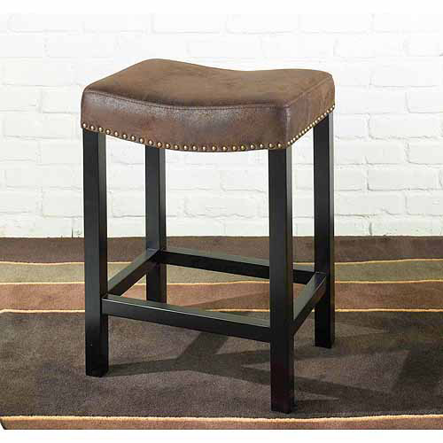 Tudor Backless 26 Stationary Barstool Covered Wrangler, Brown Fabric with Nailhead Accents
