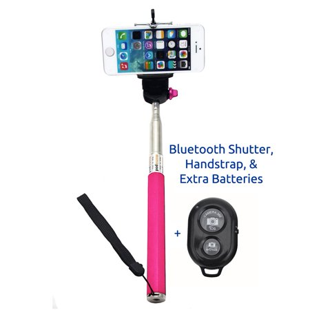 minisuit selfie stick with bluetooth remote for apple android phones pink. Black Bedroom Furniture Sets. Home Design Ideas