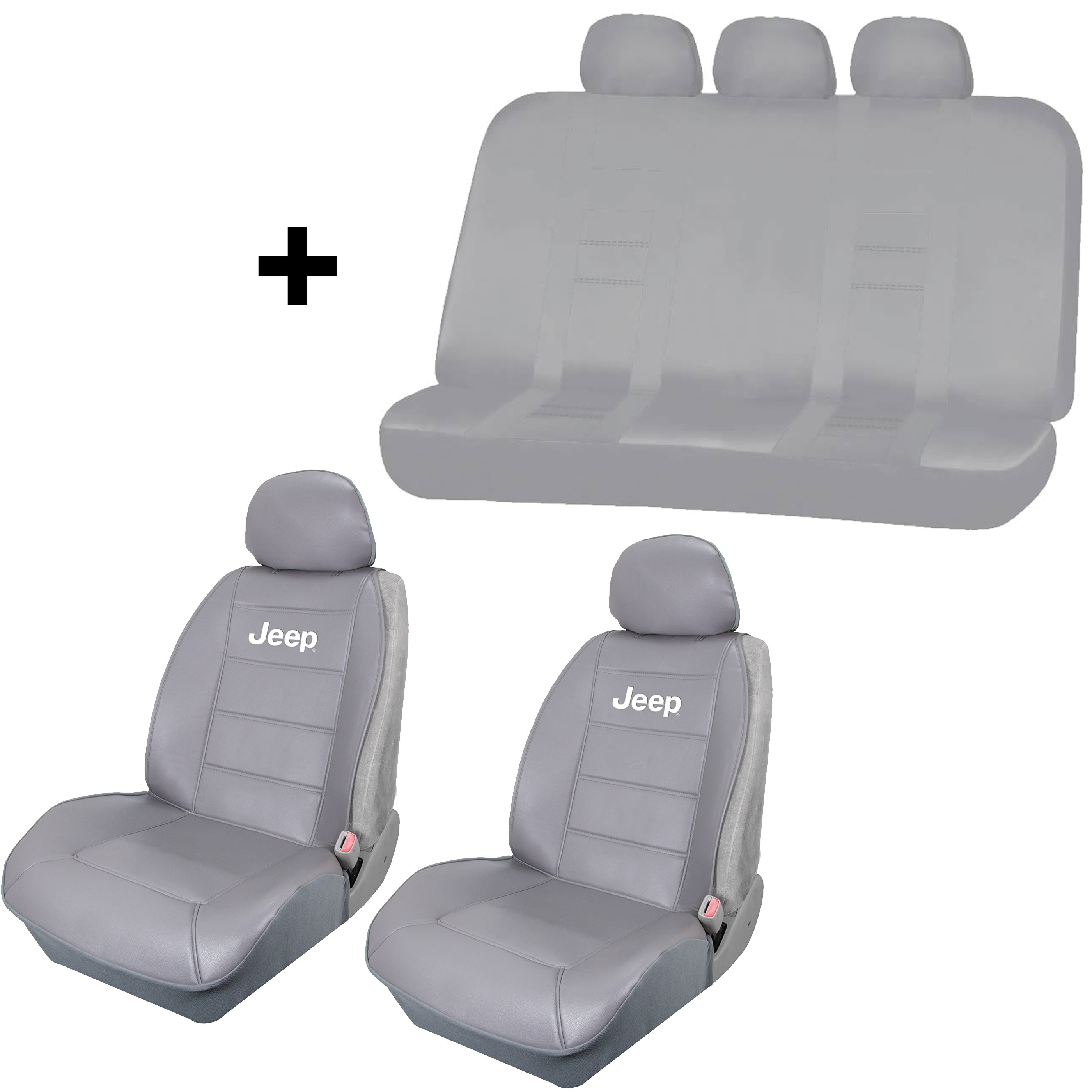 2 Solid Gray Synthetic Leather Sideless Seat Covers & Free UAA INC. Universal Gray Bench Car Truck SUV Van for Jeep