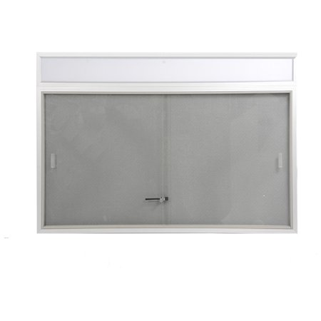 Enclosed Bulletin Board with Sliding Glass Doors, 48 x 36, Includes Separate Header Area, 4' x 3' Fabric Message Board for Indoor Use, Aluminum (Gray) (FBSD43HDSG) - Indoor Enclosed Aluminum Message Board