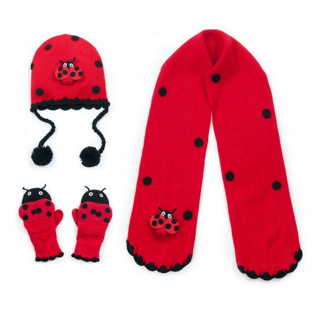 Kidorable Girls Red Ladybug Hat Scarf Gloves Handmade Win...