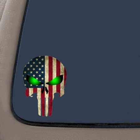 """Punisher with American Flag and Glowing Eyes Decal Sticker 