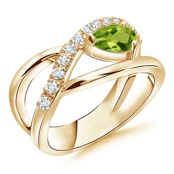 August Birthstone Ring - Criss Cross Pear Shaped Peridot Ring with Diamond Accents in 14K Yellow Gold (6x4mm Peridot) - SR0164PD-YG-AAAA-6x4-4.5