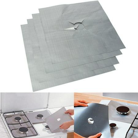 4pcs Aluminum Stove Mat Reusable Stovetop Protectors Foil Gas Hob Protector Liner Stove Clean Mat Pad For Kitchen Home