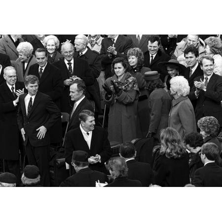 Ronald and Nancy Reagan at George H W Bushs inauguration Photo Print