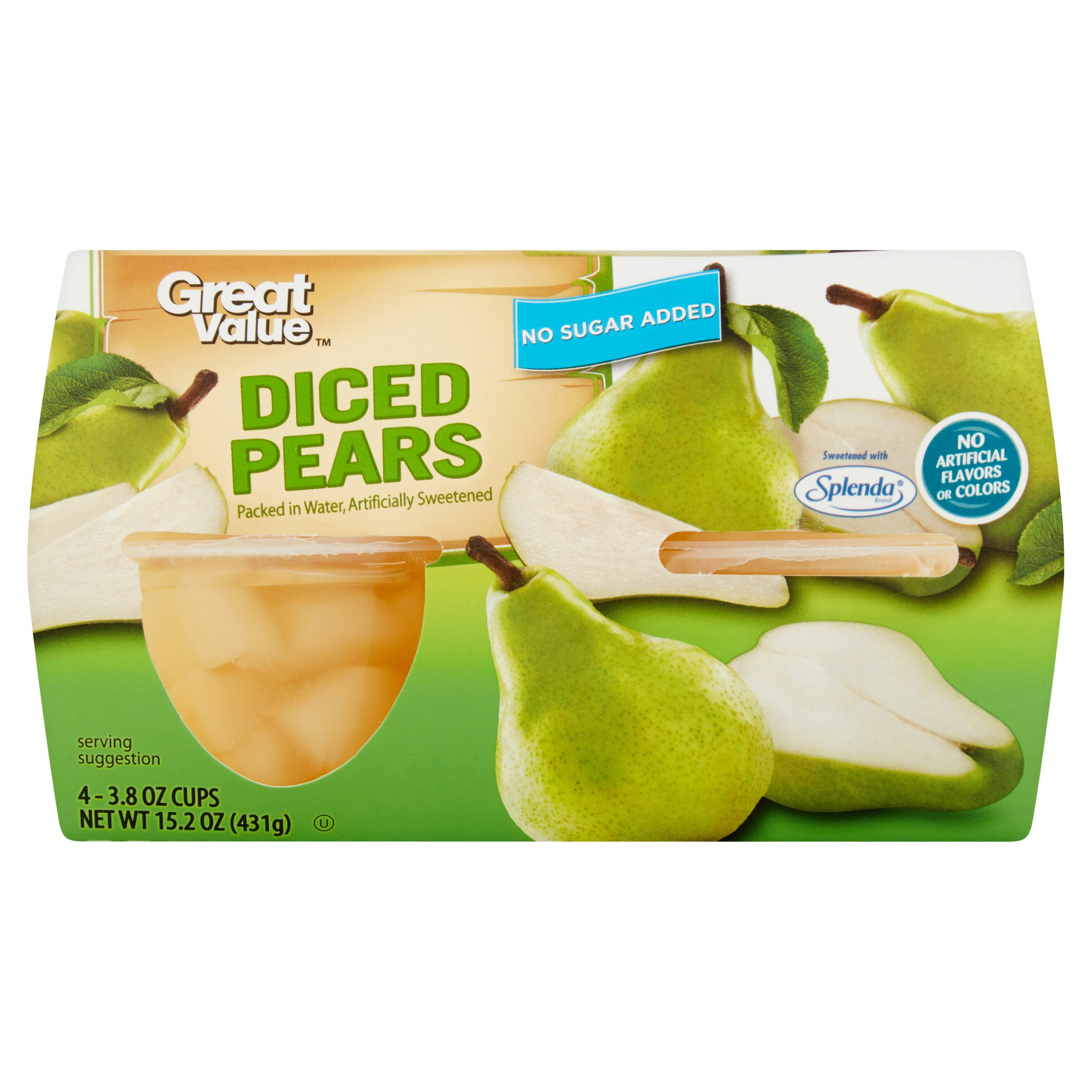 (24 Cups) Great Value No Sugar Added Diced Pear Fruit Cups, 3.8 oz cups