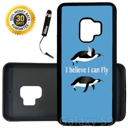 Custom Galaxy S9 Case (Funny Flying Penguin Quote) Edge-to-Edge Rubber Black Cover Ultra Slim | Lightweight | Includes Stylus Pen by Innosub