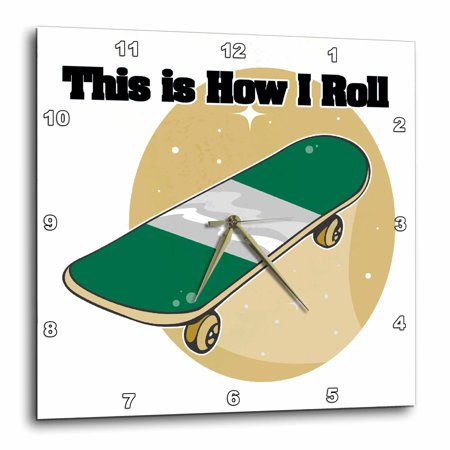 3dRose This Is How I Roll Skateboard Design, Wall Clock, 13 by 13-inch