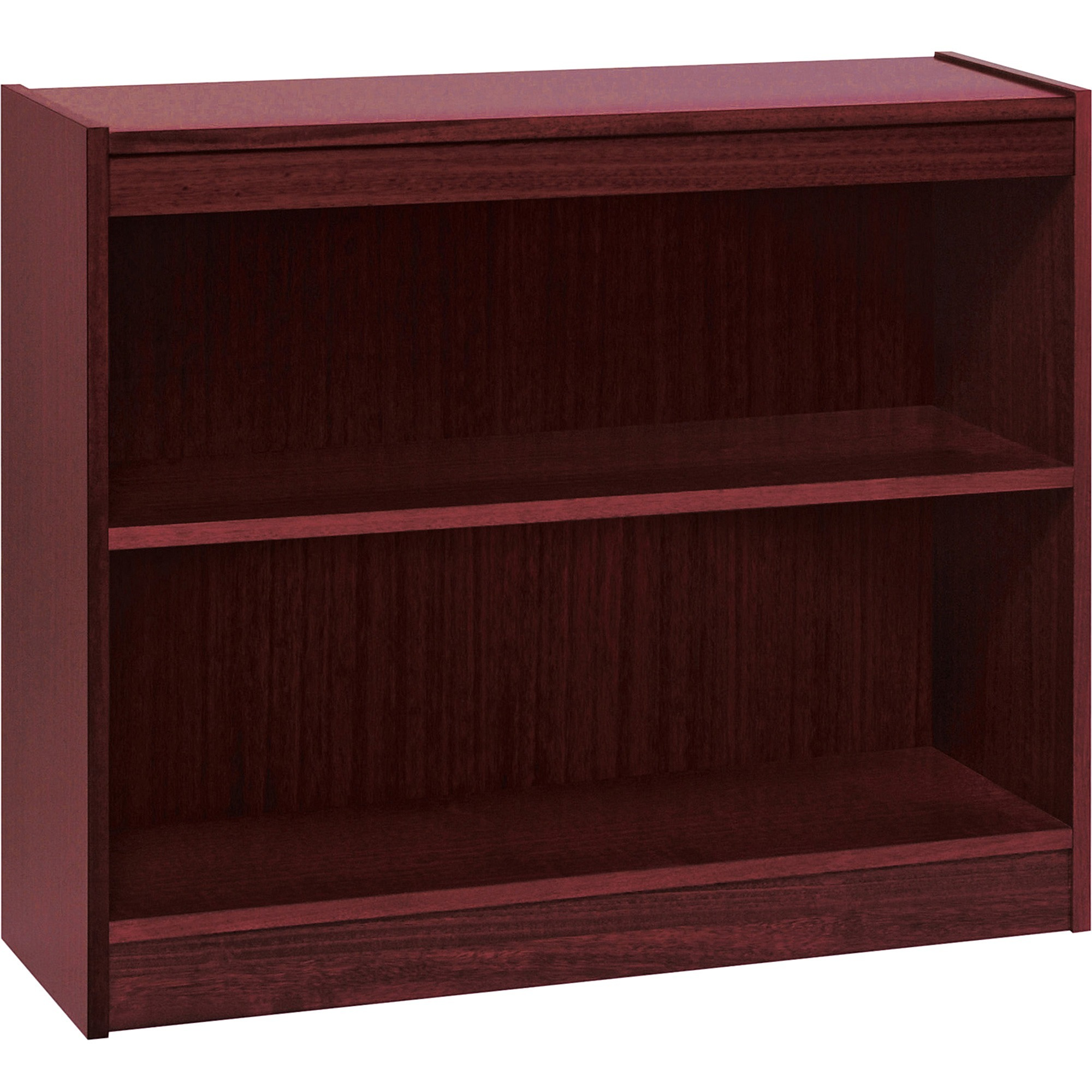 Lorell, LLR60070, Panel End Hardwood Veneer Bookcase, 1 Each, Mahogany