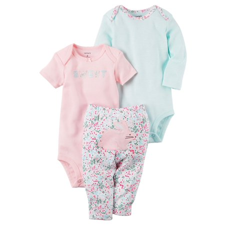 Carters Baby Girls 3-Piece Little Character Set Sweet Bunny Pink