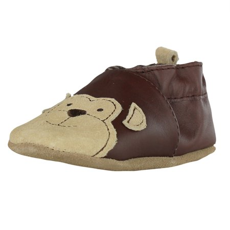 0f51ad1d8e36c Robeez Newborn Baby-Boys Brown Leather Soft Sole Baby Shoes with Beige  Monkey (Infant