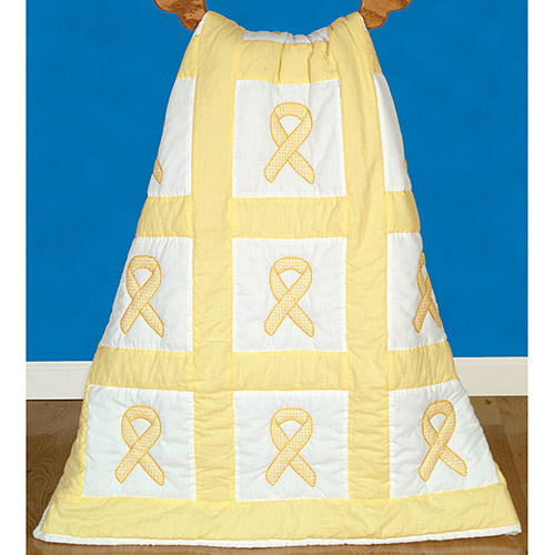"Jack Dempsey Hope Ribbons Stamped White Quilt Blocks, 9"" x 9"""