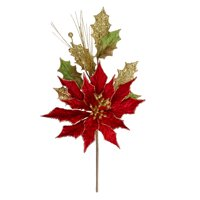 """19"""" Red and Gold Glittered Poinsettia Christmas Spray"""